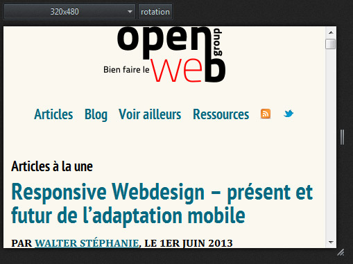 Version smartphone d'OpenWeb, en vue adaptative sous Firefox