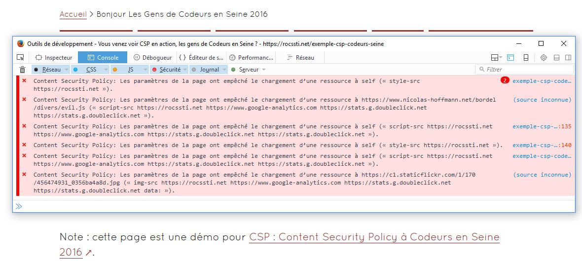 Notifications CSP dans la console du navigateur