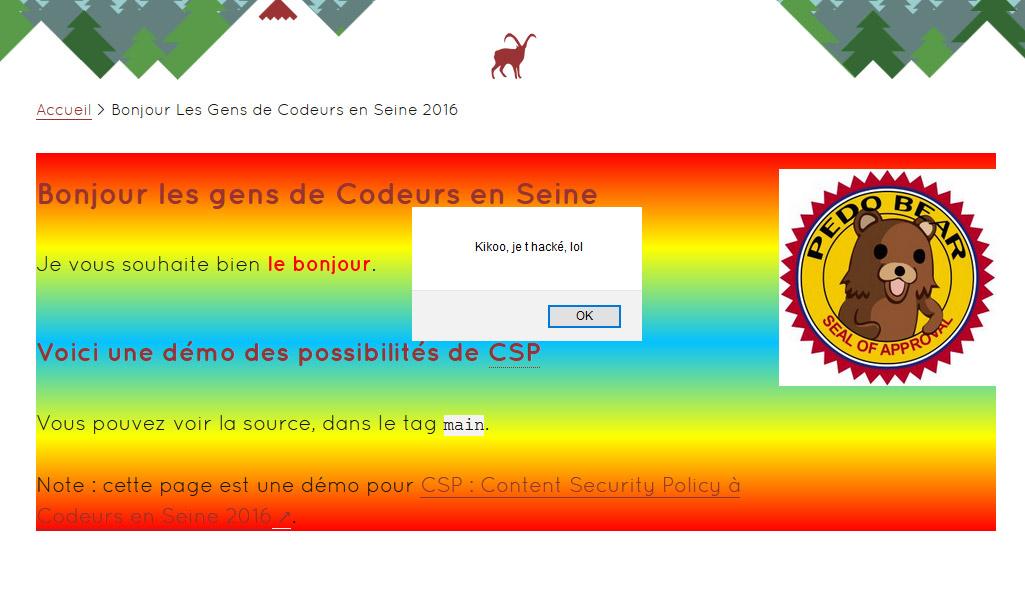 exemple de page sans CSP (page défacée)