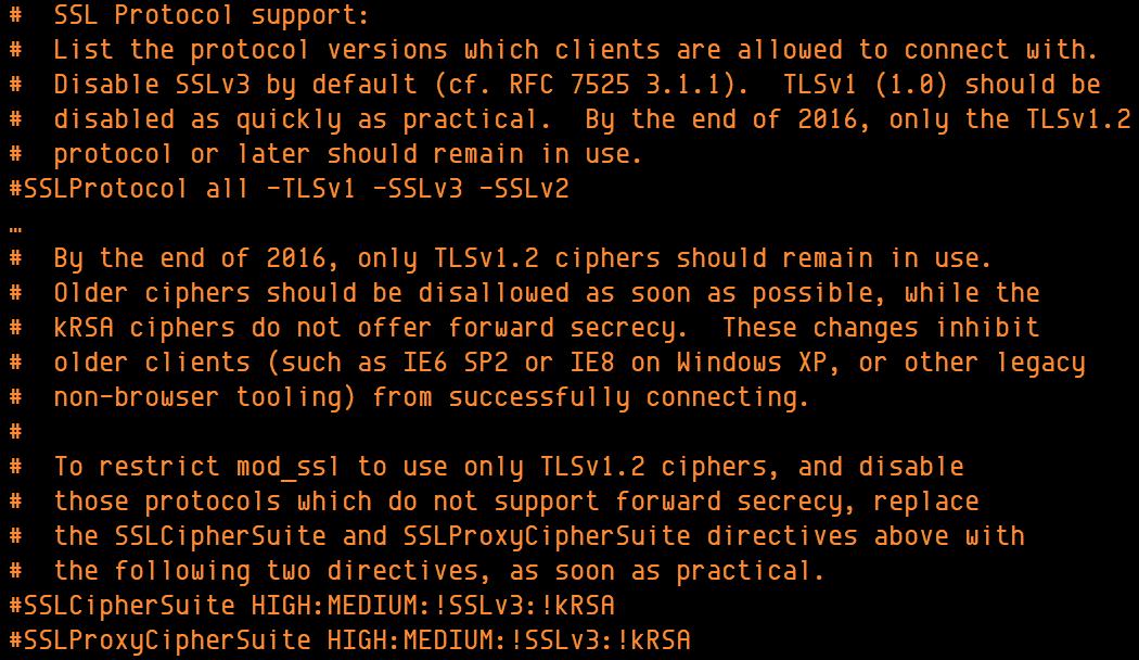 Commentaires du fichier de configuration Apache 2.4.x à propos de TLS