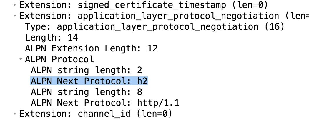 Protocole ALPN dans un client hello