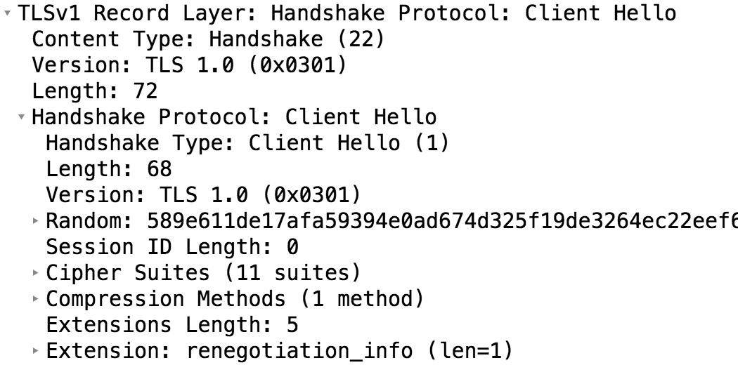 Exemple de Client Hello avec des extensions