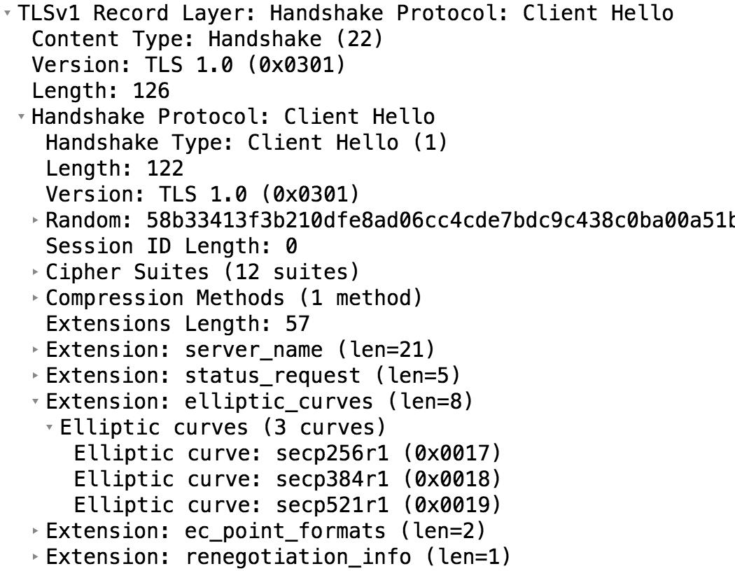 Extensions à base de courbes elliptiques dans un client hello